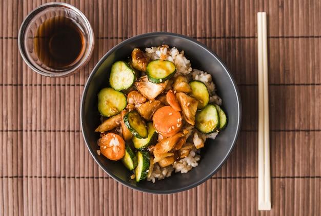 High angle shot rice bowl Free Photo