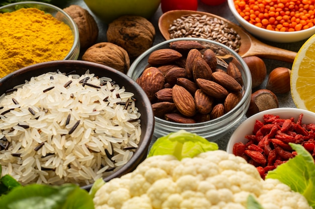 High angle of spices assortment Free Photo
