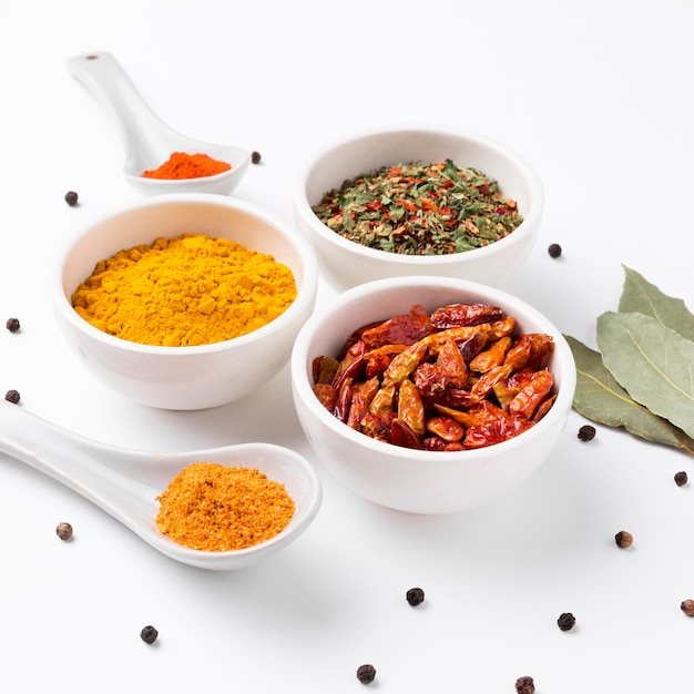High angle spices and herbs arrangement Free Photo
