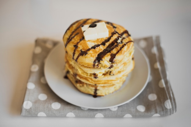 High angle stack of home made pancakes Free Photo