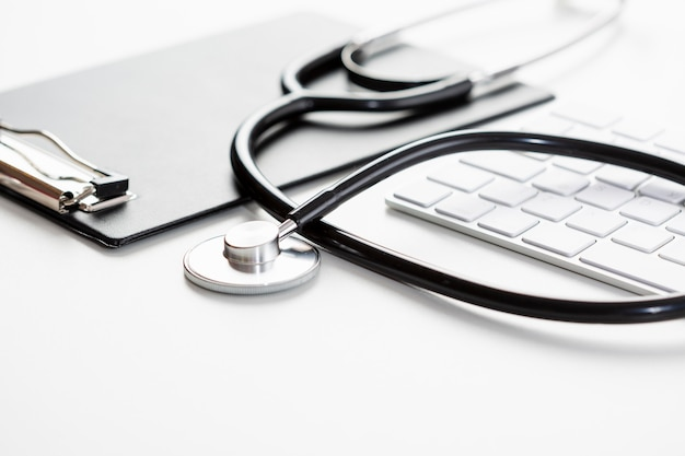 High angle stethoscope with keyboard Premium Photo