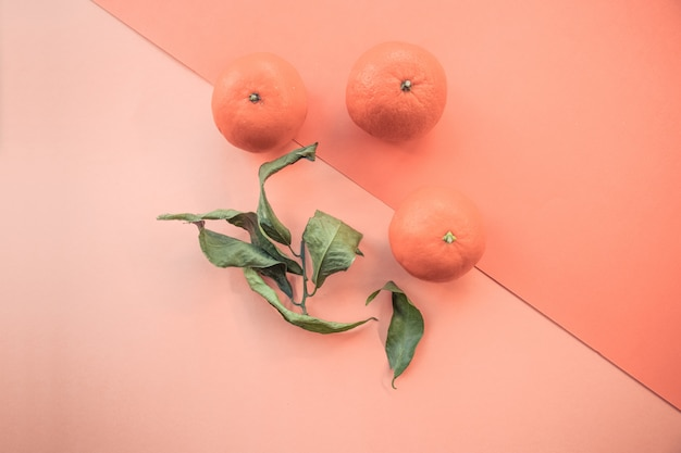 3つの新鮮なマンダリンとオレンジ色の背景に緑の葉の高角度対称ショット 無料写真