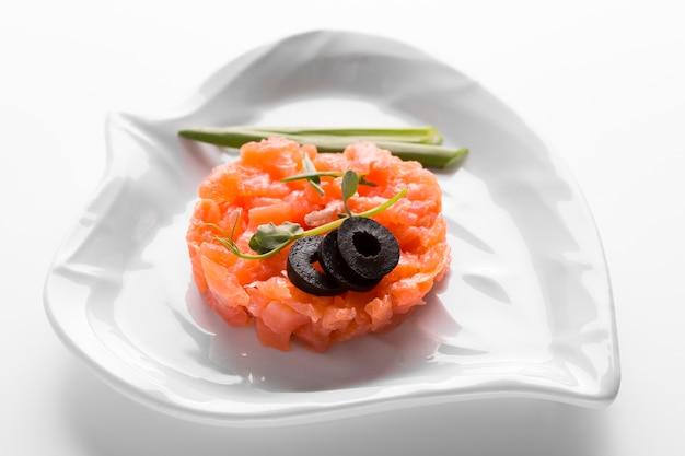 High angle tasty fish meal Free Photo