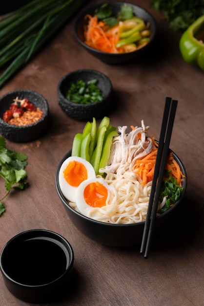 High angle of traditional asian dish with eggs Free Photo