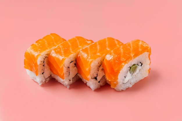 High angle traditional japanese sushi composition Free Photo
