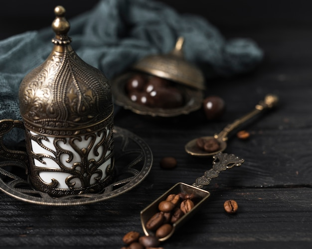 High angle of turkish cup of coffee Free Photo