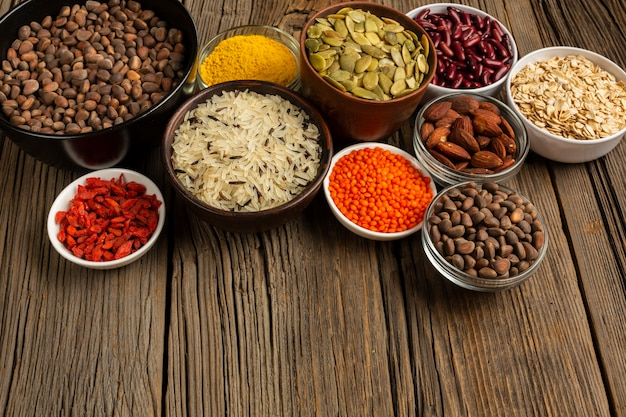 High angle of various spices Free Photo