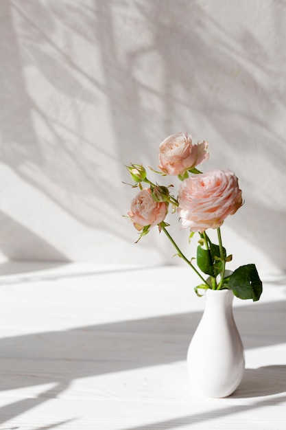 High angle vase with flowers Free Photo