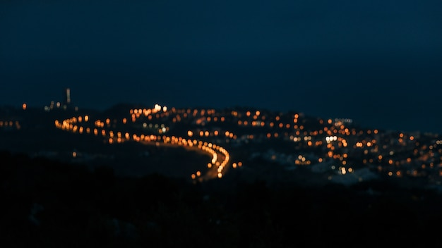 High angle view of blurred countryside light over the mountain Free Photo