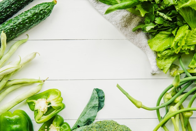 High angle view of fresh organic green vegetables Free Photo