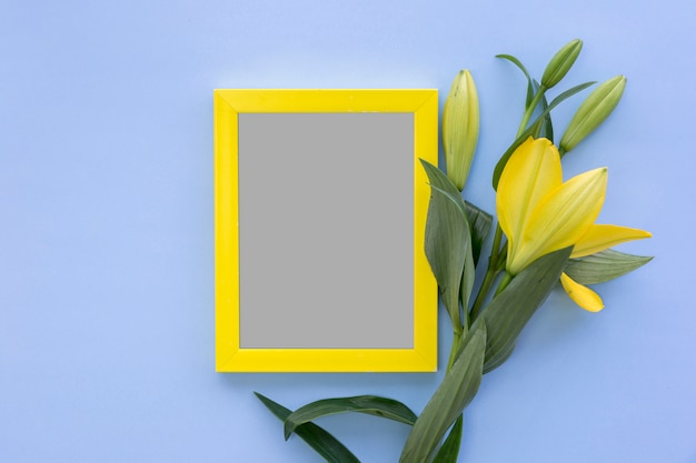 High angle view of photo frame and yellow lily flowers on blue colored backdrop Free Photo