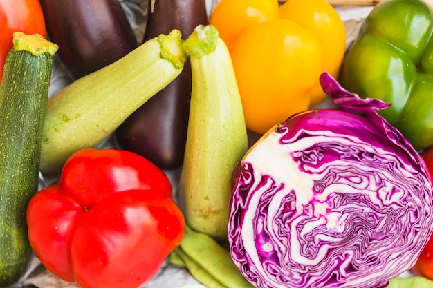 High angle view of various healthy vegetables Free Photo