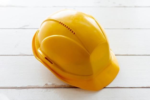 High angle yellow safety helmet Free Photo