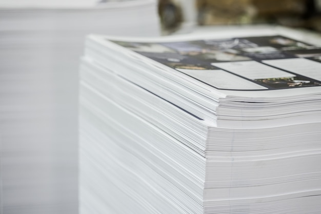 High contrast, printed paper stack industry offset sheets. Premium Photo