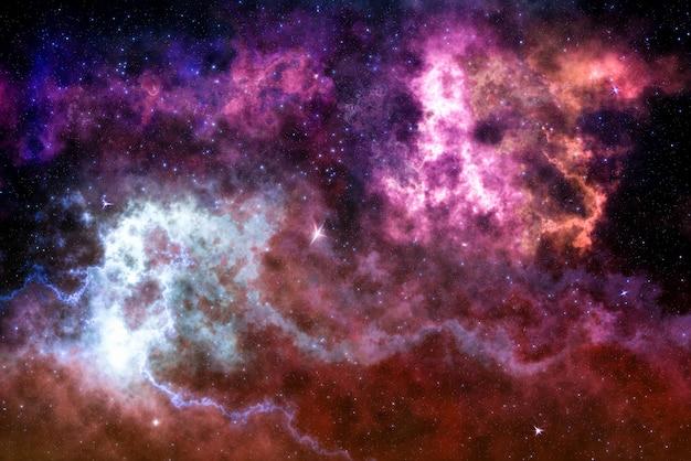 Звездное поле высокой четкости, красочное ночное небо. туманности и галактики в космосе. Premium Фотографии