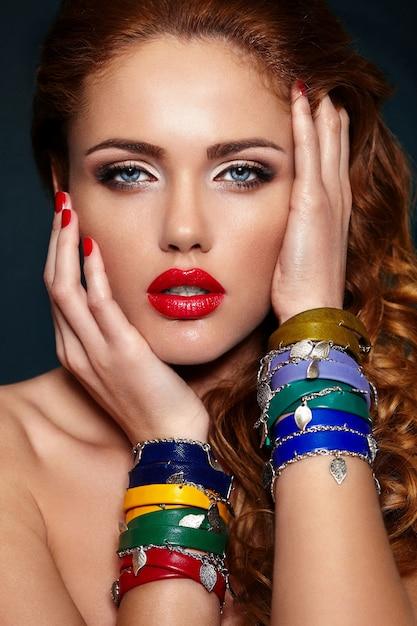 High fashion look.glamor closeup portrait of beautiful sexy stylish blond caucasian young woman model Free Photo