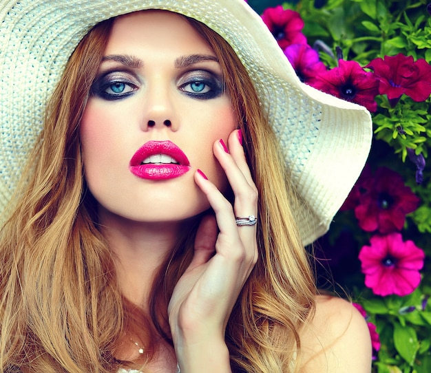 High fashion look.glamor closeup portrait of beautiful sexy stylish blond young woman model with bright makeup and pink lips with perfect clean skin in hat blue eyes Free Photo