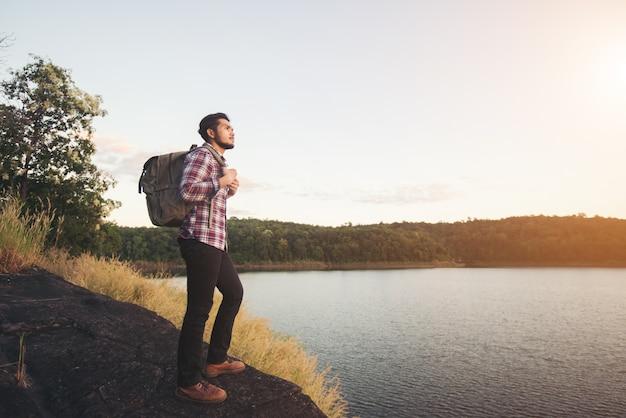High horizon lake climber together Free Photo