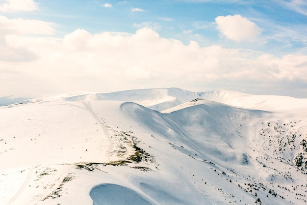 High mountains under snow in the winter Free Photo