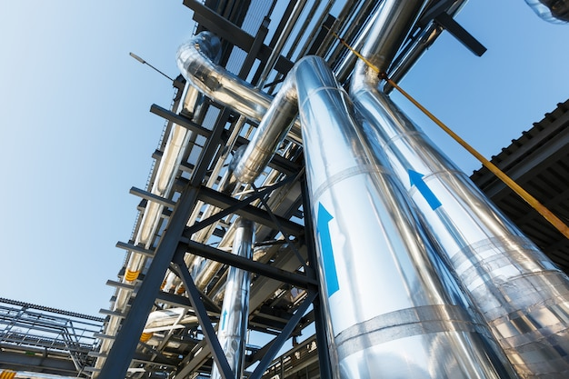 High pressure pipeline for gas transporting by the stainless steel Premium Photo