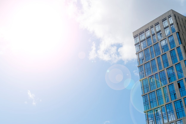 High-rise buildings of modern city, view from below, Premium Photo
