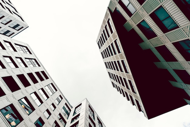 High-rise buildings of modern city. view from below. Premium Photo