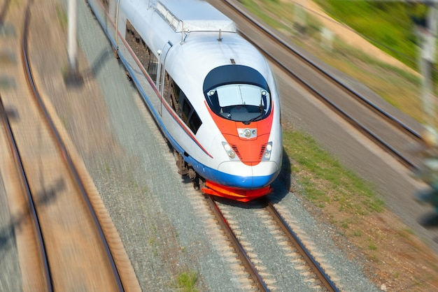 High-speed  train in motion Free Photo