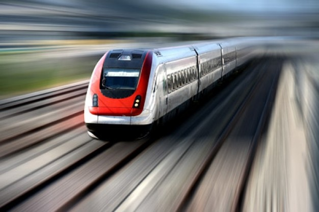 high speed trains travelling on the picture material