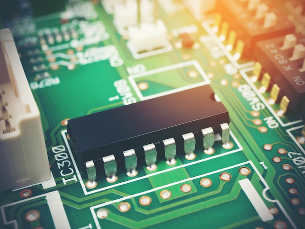 High tech electronic pcb (printed circuit board) with microchips processor technology Premium Photo