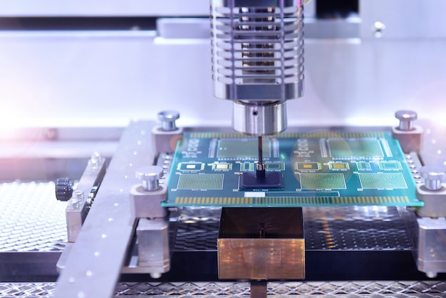 High technology and modern automatic robot for print circuit board Premium Photo