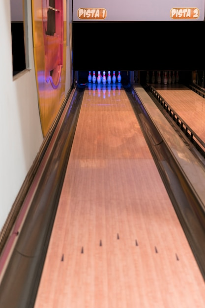 High view bowling alley Free Photo