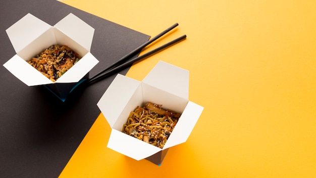 High view boxes of asian food Free Photo