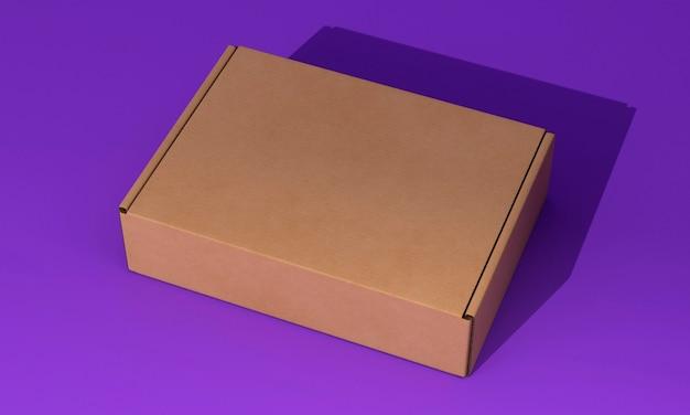 보라색 배경에 높은보기 갈색 상자 무료 사진