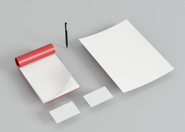 Визитные карточки и ручка с высоким углом обзора Premium Фотографии