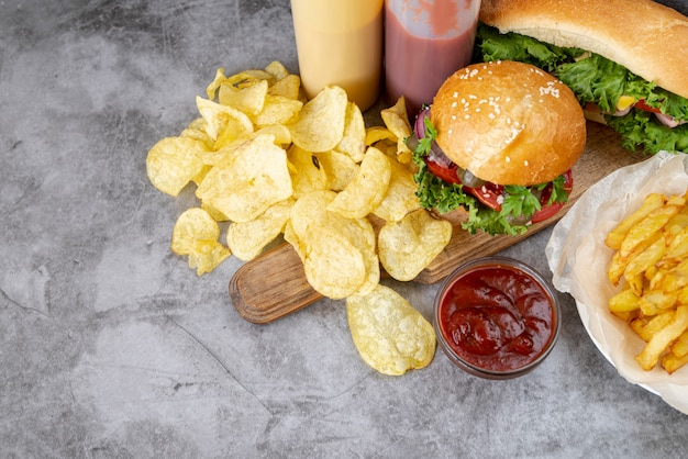 High view fast food on table Free Photo