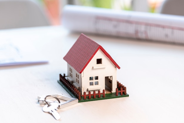 High view house with garden and keys Free Photo