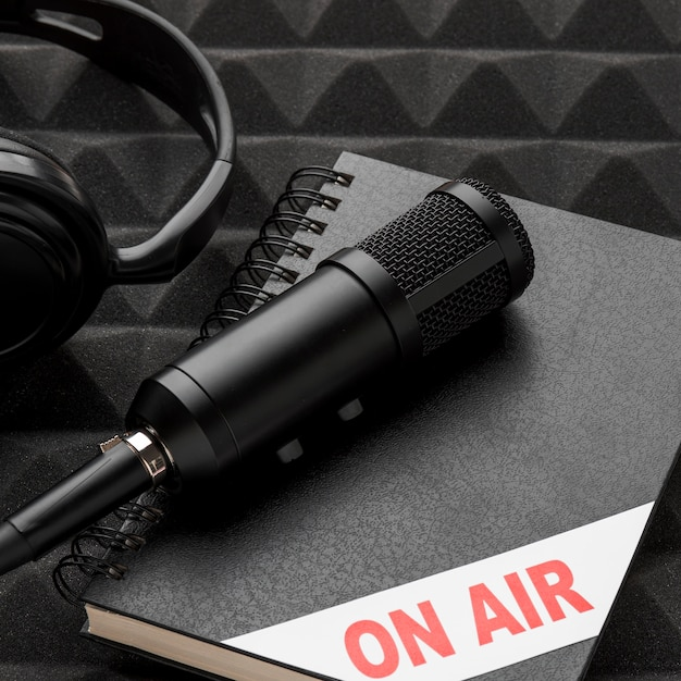 High view mic on air concept Free Photo
