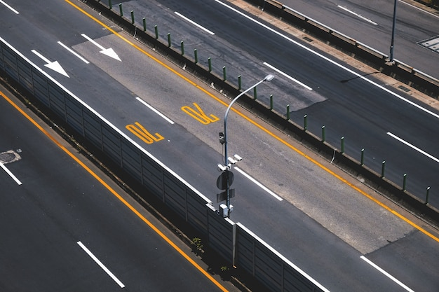 High view motorway with speed control Free Photo