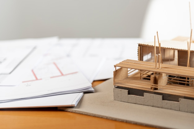 High view toy model house made out of wood Free Photo