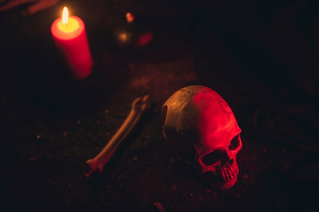High view of witchcraft arrangement with candles and skull Free Photo