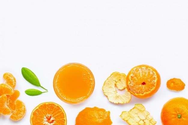 High vitamin c, fresh orange juice with fruits, isolated on white. Premium Photo