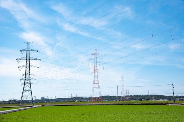 High voltage post,high voltage tower sky beautiful background Premium Photo