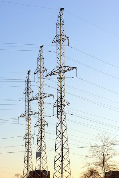 High voltage power lines Premium Photo