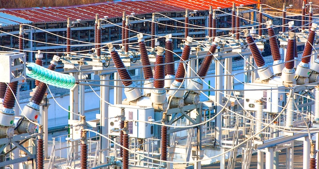 High voltage power transformer substation. Premium Photo