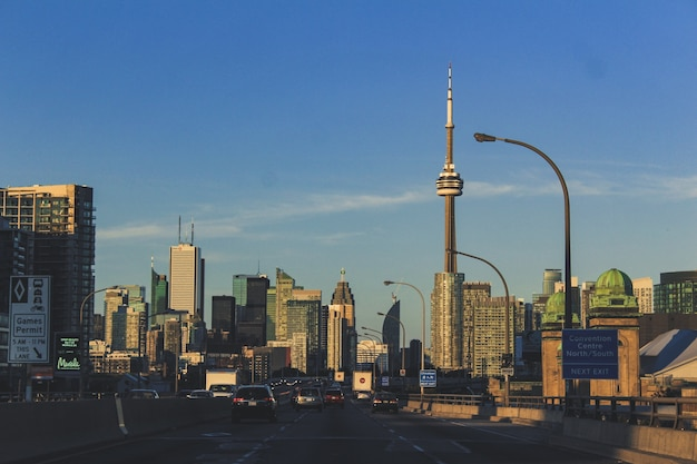 Highway view of toronto city Free Photo