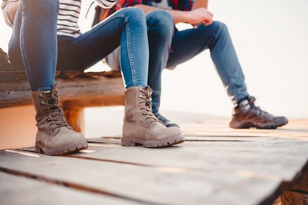 Hiker boots on a wooden deck Premium Photo
