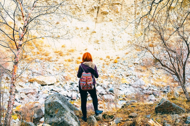 Hiker woman with backpack. Premium Photo