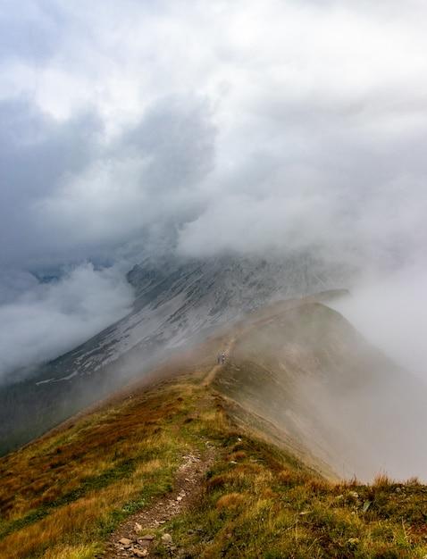 Escursionisti che salgono su un sentiero di montagna nelle montagne della stiria in austria, sentiero escursionistico, sport, misty mou Foto Gratuite