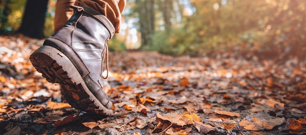 Hikers muddy boots Premium Photo