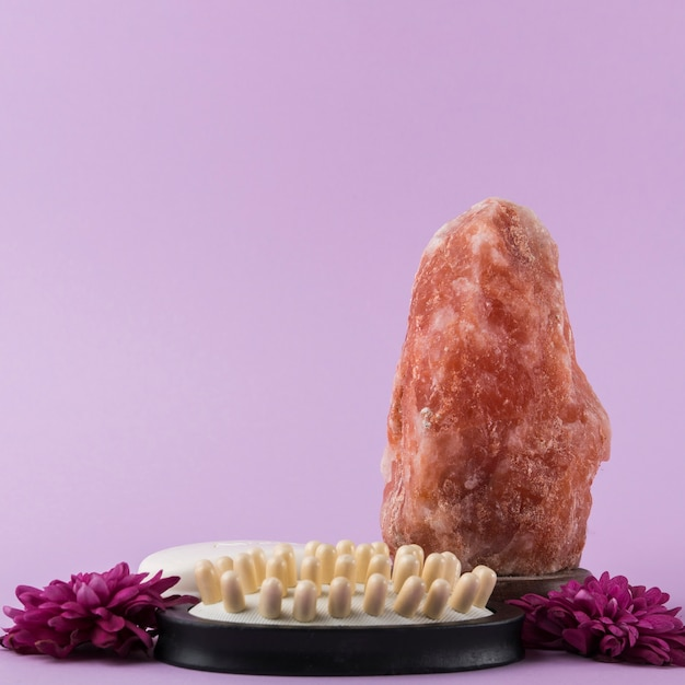 Himalayan pink rock salt; massage brush and flower against purple background Free Photo